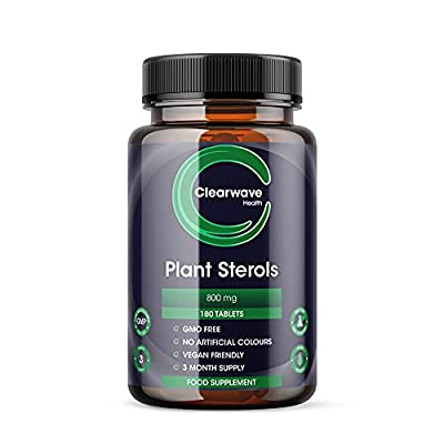 Plant Sterols 800mg - 200 Tablets Proven to Naturally Lower Bad Cholesterol Levels & Support Immune Function and Stress Management. Made in UK.