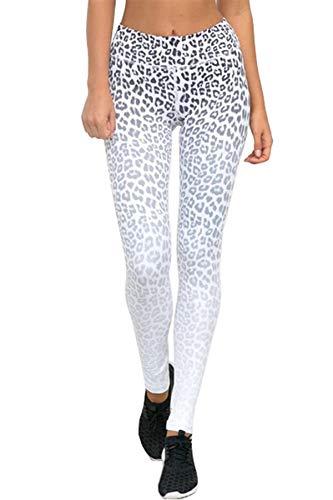 Pau1Hami1ton Mujer Cintura Alta Pantalones de Yoga, White Leoparo Impresión Engrane Raya Legging Entrenamiento Corriendo Mallas GP-22(White Leopar,M)