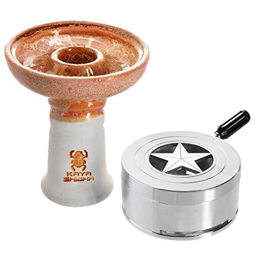 Kaya BigStar Set, Keramik Phunnel, Smokebox, Heat Management Zubehör für Wasserpfeifen (Orange)