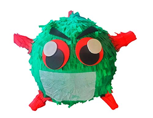 Microbe Pinata - Pinata Party Co_vid themed pinata Vi_rus with Mask - Birthday Party - Quarentine Pinata - Holds 4 lbs of candy and other small party items- Made in USA- 11 in x 11 in x 11 in- Rope atochad.