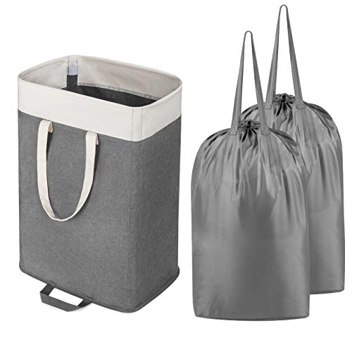 Lifewit Laundry Basket Large Collapsible Clothes Hamper with 2 Removable Laundry Bags, Built in Lining with Detachable Brackets, Toys and Clothing Organization Storage Basket, Grey