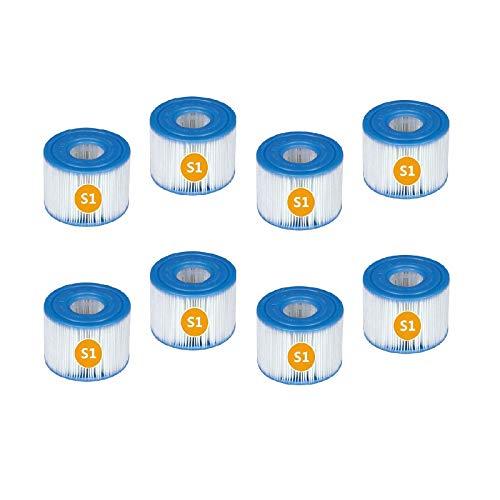 QIOO Cartuchos de repuesto para Intex 29001E, tipo S1 PureSpa Easy Set Filtro de repuesto para piscina, spa, jacuzzi, bañera (8 unidades)