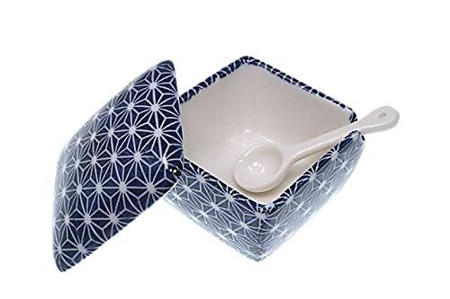 青色麻葉 薬味入 日本製 陶器 スプーン付き 一味 塩 山椒 七味 辛子 業務用食器 ACSWEBSHOPオリジナル