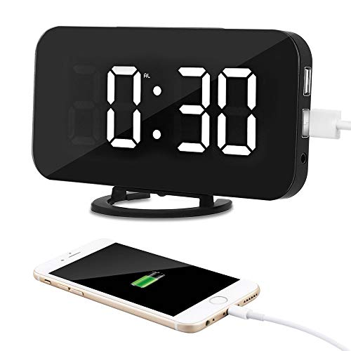 COOLEAD Reloj Despertador Digital, LED Despertador Espejo Alarma con 2 Puertos USB Cargador de Teléfono, Brillo Ajustable y 6.5
