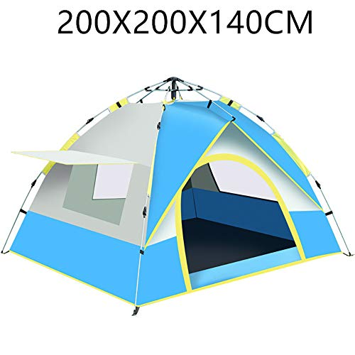 HGFDSA Camping Tent Family Outdoor Tourist Waterproof and Uv Protection Tents for 3 to 4 People Park Camp Travel Beach Hiking,Blue,200 * 150 * 125CM