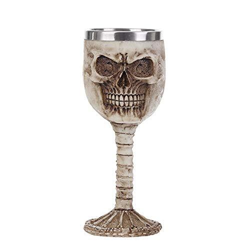 VOANZO Copa de vino de resina horrible de metal con calavera, estilo retro, copa de cóctel gótico, copa de whisky, para fiesta, bar, vajilla