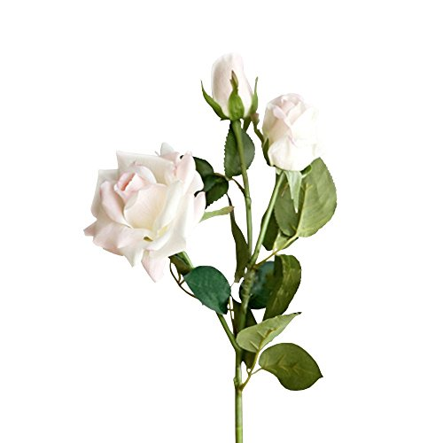 Jia HU 1pièce bouquets de fleurs de rose en 3head Pivoine arrangements plantes d'intérieur extérieur décoratif rose clair