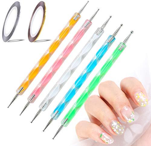 5 Stücke Dotting Pen Strass Nail Art Dotting Tools Nail Design Marbleizing Werkzeug Punktierung Werkzeug Set für DIY Rock Malerei Nagel Design