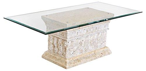 Mesa de centro Marina con base de piedra mactan fina y parte superior de cristal templado