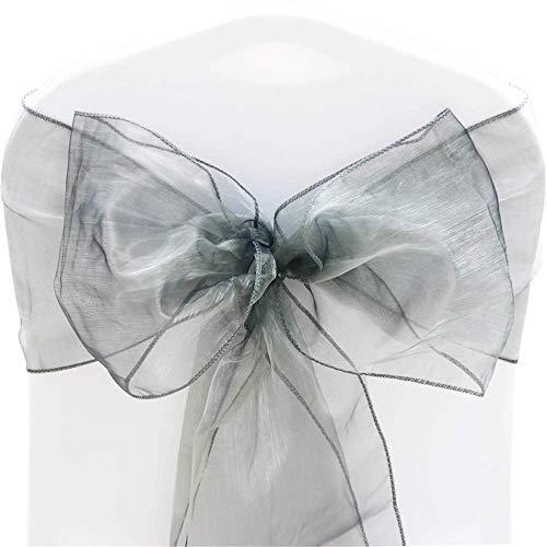 Time to Sparkle – Pack de 100Cintas de Organza, Lazos Anchos Decorativos para sillas, Bodas, Fiestas de cumpleaños, decoración. Color: Gris Plata.