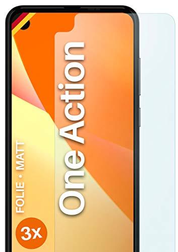 moex Schutzfolie matt kompatibel mit Motorola One Action - Folie gegen Reflexionen, Anti Reflex Bildschirmschutz, Matte Bildschirmfolie - 3X Stück