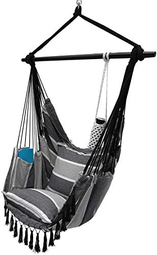 Project One Hanging Rope Hammock Chair, Hanging Rope Swing Seat with 2 Pillows, Carrying Bag, and Hardware Kit Perfect for Outdoor/Indoor Yard Deck Patio and Garden, 300 Pound Capacity (Grey Stripe)