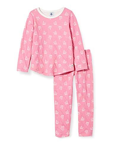 Petit Bateau Pyjama Jacquard, Katzen, Mädchen, aus Wolle und Baumwolle Gr. 2 Jahre,...