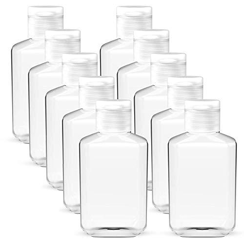 60Pcs 2oz Empty Clear Plastic Travel Bottles, Portable Refillable Containers with Flip Top Caps, PET Bottles for Hand Sanitizer Shampoo, Body Soap, Toner, Lotion, Cream