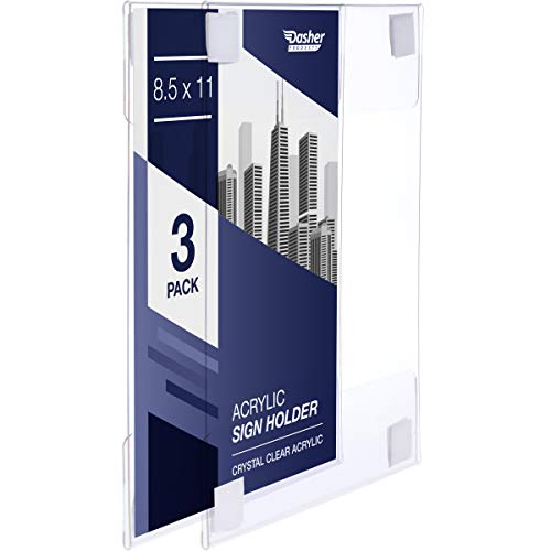 Acrylic Sign Holder with Hook and Loop Adhesive, 8.5 x 11 inches - Portrait or 11 x 8.5 inches - Landscape, Clear Wall Mount Frame, Perfect for Home, Office, Store, Restaurant (3 Pack)