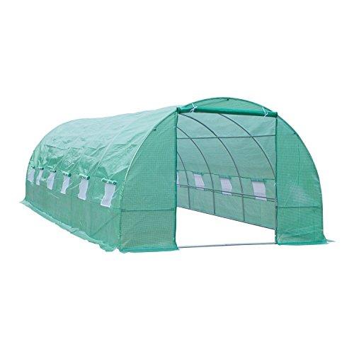 Outsunny Invernadero de Túnel 8x3x2 m Acero y PE 140g/m² Cultivo Plantas Tomates Verduras con 12 Ventanas y Puerta Enrollable Verde