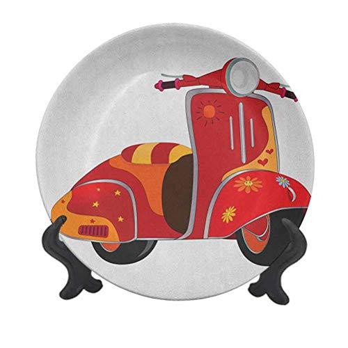 Plato decorativo de cerámica vintage de 25,4 cm, diseño de scooter clásico para hippies Urban Memories juveniles, arte moderno decorativo de cerámica para mesa de comedor, decoración del hogar