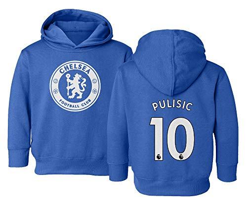 Spark Apparel London Blue #10 PULISIC Soccer Jersey Style Little Kids Girls Boys Toddler Hooded Sweatshirt (Royal, 4T)
