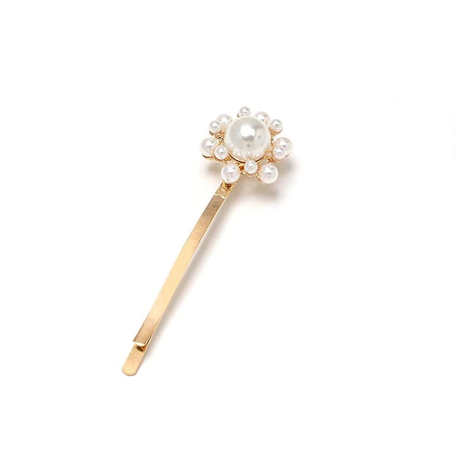 レーザ番目争うKimyuoミニマリストの高級模造真珠ビーズ1ワードカーブヘアピンレディース結婚式の金属合金幾何学的ヘアスタイリングバレットクリップ