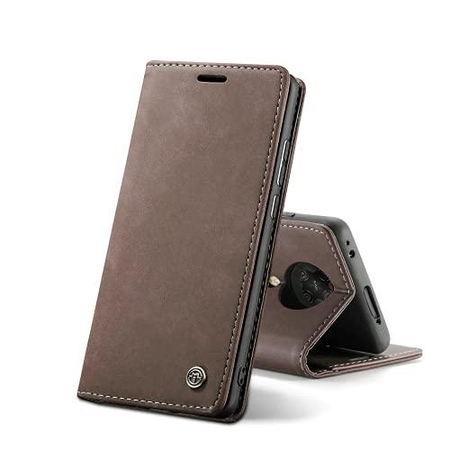 Chocoyi Kompatibel mit Xiaomi Poco F2 Pro/Redmi K30 Pro Hülle Leder,Magnetverschluss Premium PU Leder Flip Hülle,Standfunktion.-Kaffee Braun