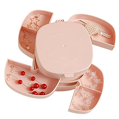 Bncxdc Caja organizadora de joyería, cajones de almacenamiento de joyas, soporte para pendientes, caja de joyería giratoria de 4 capas para mujer, pequeña caja de almacenamiento de joyería bonita