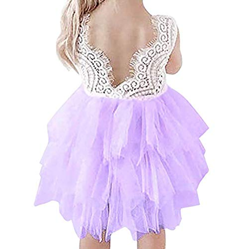 Baby.Yep Toddler Baby Flower Girls Princess Tulle Dress Lace Backless Tutu A-line Beaded Party Dresses
