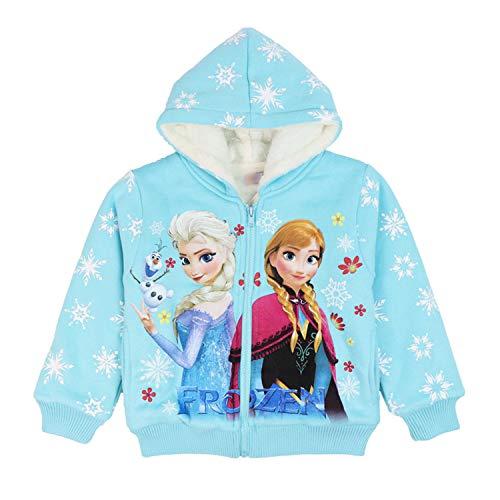 PCLOUD Mädchen Frozen Dicker Plüsch Hoodies für Winter Sweatshirt - Blau - 5/6X