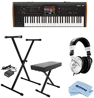 Korg Kronos 61 Key Music Workstation with SGX-2 Engine, Kronos System Version 3.0 - Bundle with On-Stage Keyboard Stand/Bench Pack with Sustain Pedal, Behringer HPS3000 HP Studio Headphones, Cloth