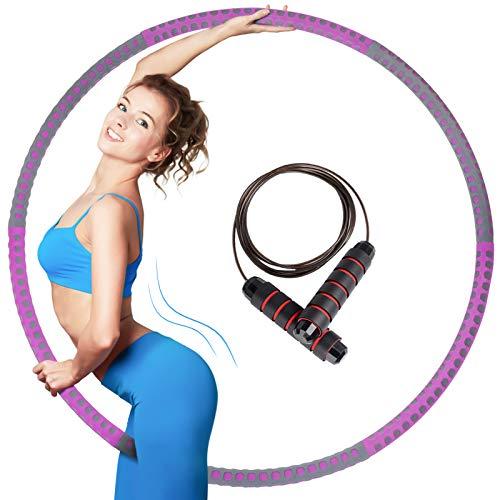 JOLVVN Hula Hoop für Fitness mit 3M Springseilen Faltbare Fitness Wave Einstellbare Breite Geschenk für Jugendliche Erwachsene Damen Abnehmen (Lila + grau)