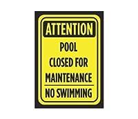 アルミニウム金属注意プールはメンテナンスのため閉鎖されましたスイミングプリントなし黒黄色のポスター公示記号