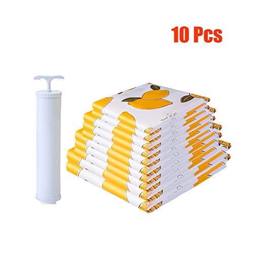 WANXJM Vacuum Compression Bag with Hand Pump, for Storing Clothes and Bedding, 10 Pcs