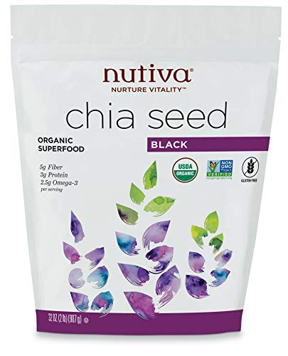 Nutiva Organic Premium Raw Black Chia Seeds, 32 Ounce | USDA Organic, Non-GMO | Vegan, Gluten-Free, Keto & Paleo | Nutrient-Dense Seeds with 3g Protein & 5g Fiber for Salads, Yogurt & Smoothies