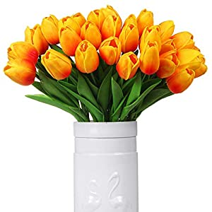 Silk Flower Arrangements Momkids 20 Pcs Tulips Artificial Flowers Fake PU Tulip Bouquet Faux Real Touch Flower for Hotel Home Office Kitchen Garden Wedding Party DIY Decor (Orange, 12.5 Inch)
