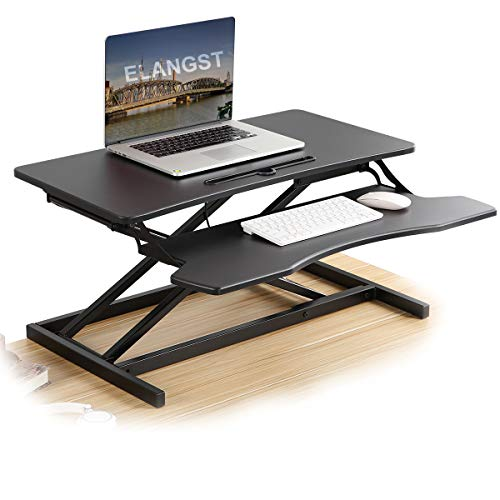 Elangst Black Height Adjustable Standing Desk Converter Sit Stand Dual Computer Riser and Laptop Riser Computer Workstation
