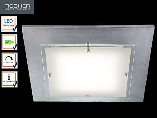LED Deckenlampe titanfarben, 40x40 cm, dimmbar mit Fernbedienung, Fischer Leuchten 13289
