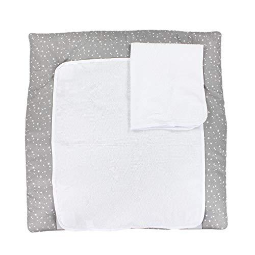TupTam Colchón para Cambiador con 2 Fundas Der Rizo, Bebé, Estrellas Blanco, 70 x 50 cm