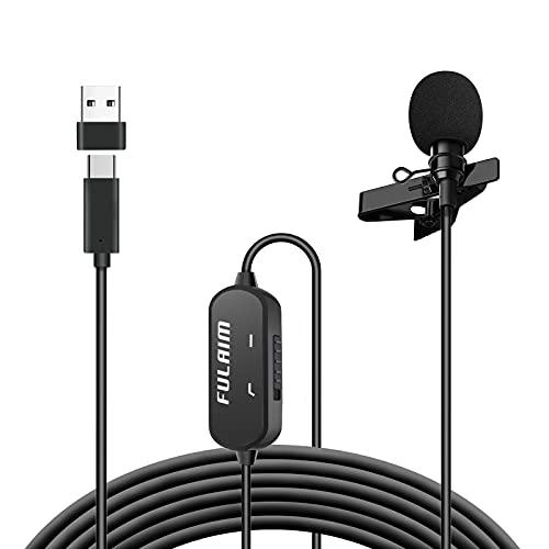 FULAIM Microfono Lavalier USB Type-C con Riduzione Del Rumore per Smartphone Android, 19,7Ft USB-C Omnidirezionale Microfono per YouTube Intervista Live Streaming con Adattatore da USB-C a USB-A