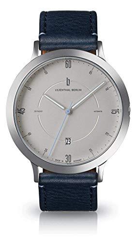 Lilienthal Berlin Zeitgeist Automatik (Gehäuse: Silber/Zifferblatt: Silber/Armband: Leder blau)