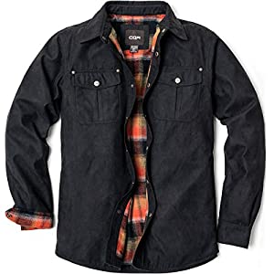 Men's Flannel Lined Shirt Jackets, Long Sleeved Rugged Plaid Cotton Brushed Suede Shirt Jacket