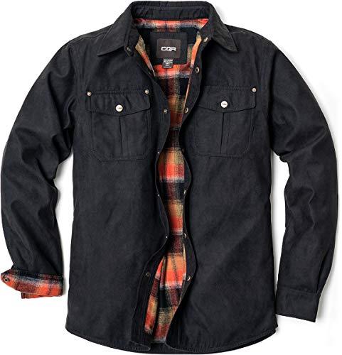 CQR Herren Flanell Gefüttert Hemd Jacken, Langärmlig Rugged Plaid Cotton Brushed Suede Hemd-Jacken, Hok700 1pack - Texas Black, L