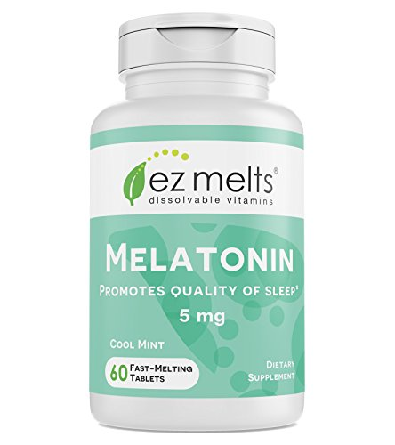 EZ Melts Melatonin for Sleep, 5 mg, Sublingual Vitamins, Vegan, Zero Sugar, Natural Mint Flavor, 60 Fast Dissolve Tablets