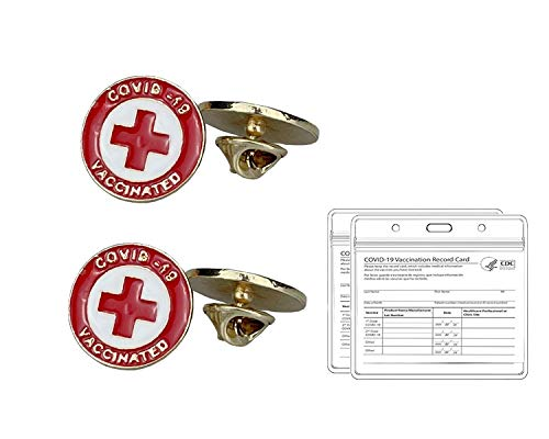 Covid Vaccinated Pin Buttons Covid 19 Vaccine Metal Brooches Badge with CDC Record Card Protectors,2 Red Pins + 2 Card Holders