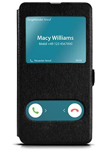 moex Klapphülle in Lederoptik inkl. Sichtfenster kompatibel mit Samsung Galaxy A40 | Integrierte Standfunktion + Magnetverschluss, Schwarz