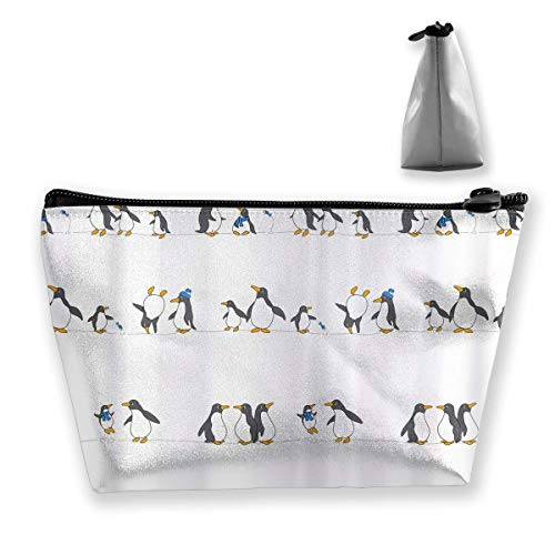 Trapezoid Toiletry Bag Bolsa de Viaje portátil Divertido Pingüino Familias Bolsas de cosméticos