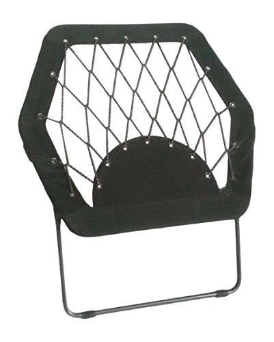 Pearington Sports Folding Portable Outdoor/ Indoor Bungee Chair 26L x 32W x 33H, Black