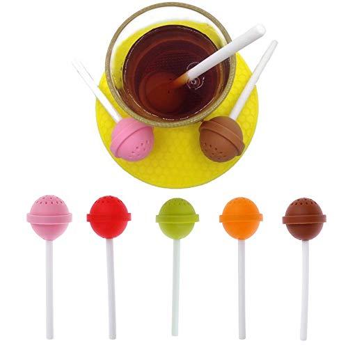 Genenic - 1 infusor de té de silicona creativo, colador de té de hojas sueltas, especias, flores, té de hierbas, linda forma de piruleta regalo – Color al azar