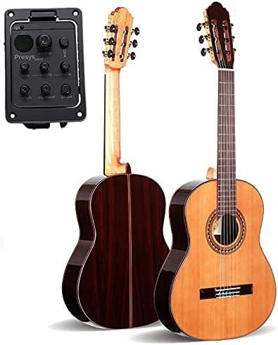 YYYSHOPP Guitarra Guitarra Hecha a Mano de 39 Pulgadas, Guitarra eléctrica de Cedro/Palo de Palo + Pickup, Guitarra clásica con Cadenas de Nylon