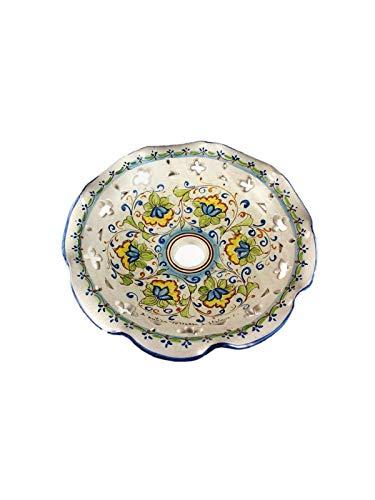 ILAB Piatto in ceramica ricambio per lampadario firmato e decorato a mano dai maestri ceramisti di santo stefano di camastra decoro fiori, diametro 30cm, foro E27 attacco grande