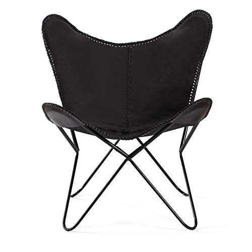 MH London Butterfly Chair - Genuine Leather - Handmade, Solid Iron Frame - Industrial Lounge Chair -...