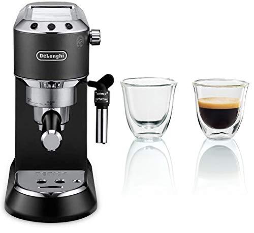 De'longhi Dedica - Cafetera de Bomba de Acero Inoxidable para Café Molido o Monodosis, Cafetera para Espresso y Cappuccino, EC685.BK, Negro + Juego de 2 vasos premium para espresso